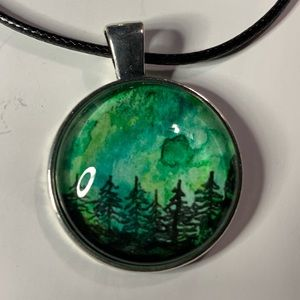 Jewelry - Watercolor & ink hand painted pendant green/black